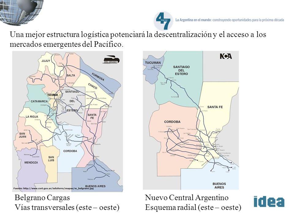 Una mejor estructura logística potenciará la descentralización y el acceso a los mercados emergentes del Pacífico. Belgrano Cargas Vías transversales