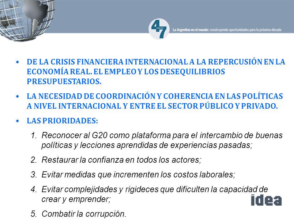 DE LA CRISIS FINANCIERA INTERNACIONAL A LA REPERCUSIÓN EN LA ECONOMÍA REAL.