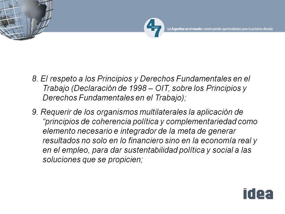 8. El respeto a los Principios y Derechos Fundamentales en el Trabajo (Declaración de 1998 – OIT, sobre los Principios y Derechos Fundamentales en el