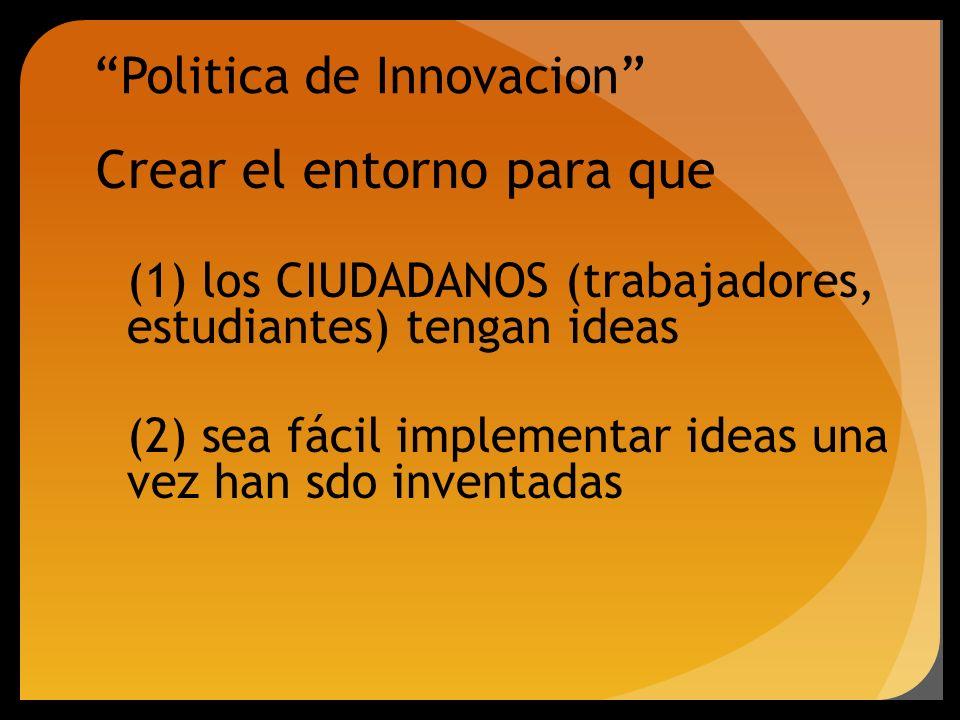 Politica de Innovacion Crear el entorno para que (1) los CIUDADANOS (trabajadores, estudiantes) tengan ideas (2) sea fácil implementar ideas una vez h