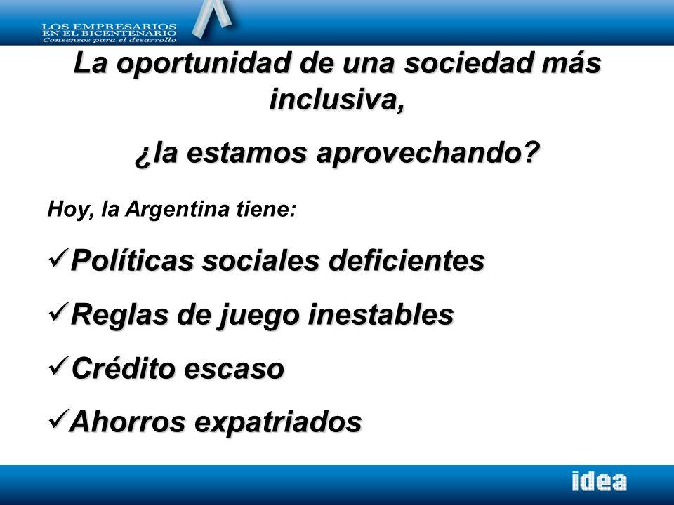 La oportunidad de una sociedad más inclusiva, ¿la estamos aprovechando? Hoy, la Argentina tiene: Políticas sociales deficientes Políticas sociales def