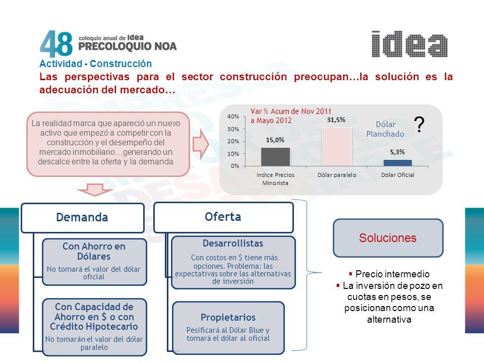 Actividad - Construcción Las perspectivas para el sector construcción preocupan…la solución es la adecuación del mercado… Demanda Con Ahorro en Dólare