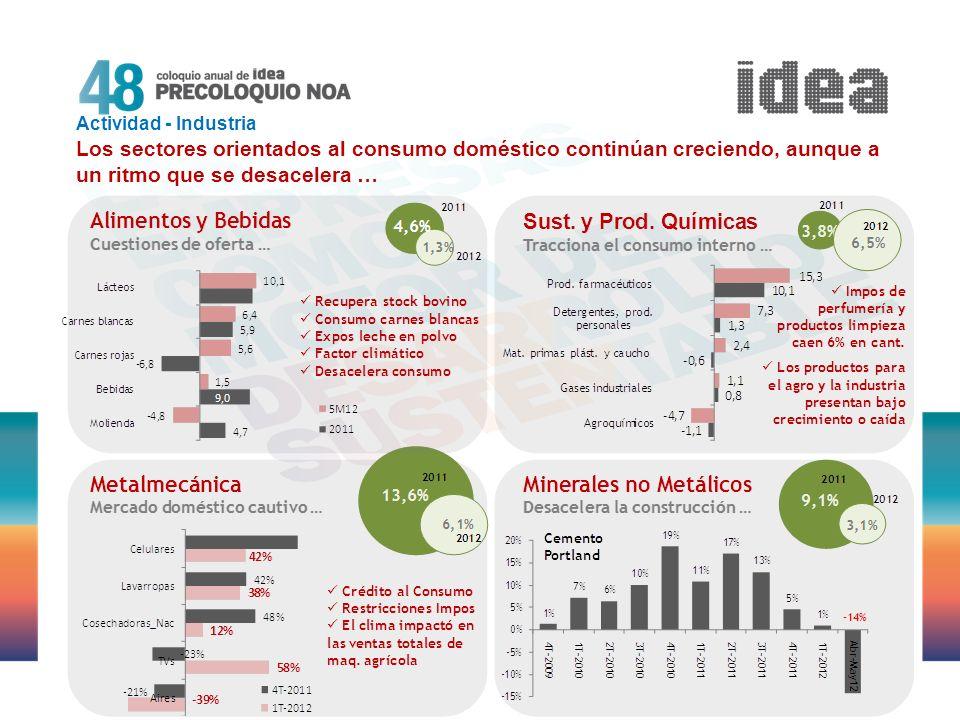 Actividad - Industria Los sectores orientados al consumo doméstico continúan creciendo, aunque a un ritmo que se desacelera …