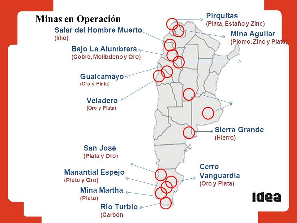 Minas en Operación Bajo La Alumbrera (Cobre, Molibdeno y Oro) Cerro Vanguardia (Oro y Plata) Veladero (Oro y Plata) Mina Aguilar (Plomo, Zinc y Plata)