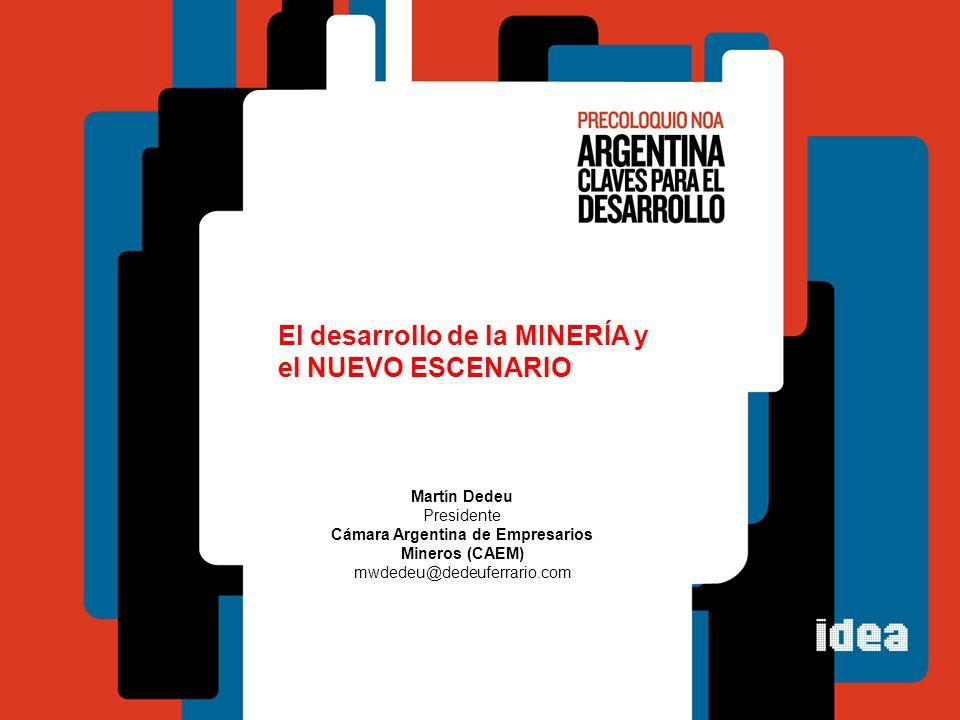 El desarrollo de la MINERÍA y el NUEVO ESCENARIO Martín Dedeu Presidente Cámara Argentina de Empresarios Mineros (CAEM) mwdedeu@dedeuferrario.com
