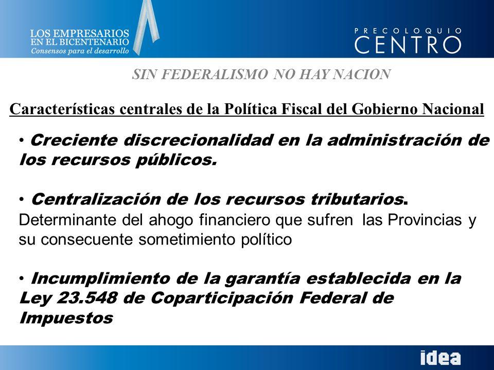SIN FEDERALISMO NO HAY NACION Características centrales de la Política Fiscal del Gobierno Nacional Creciente discrecionalidad en la administración de los recursos públicos.