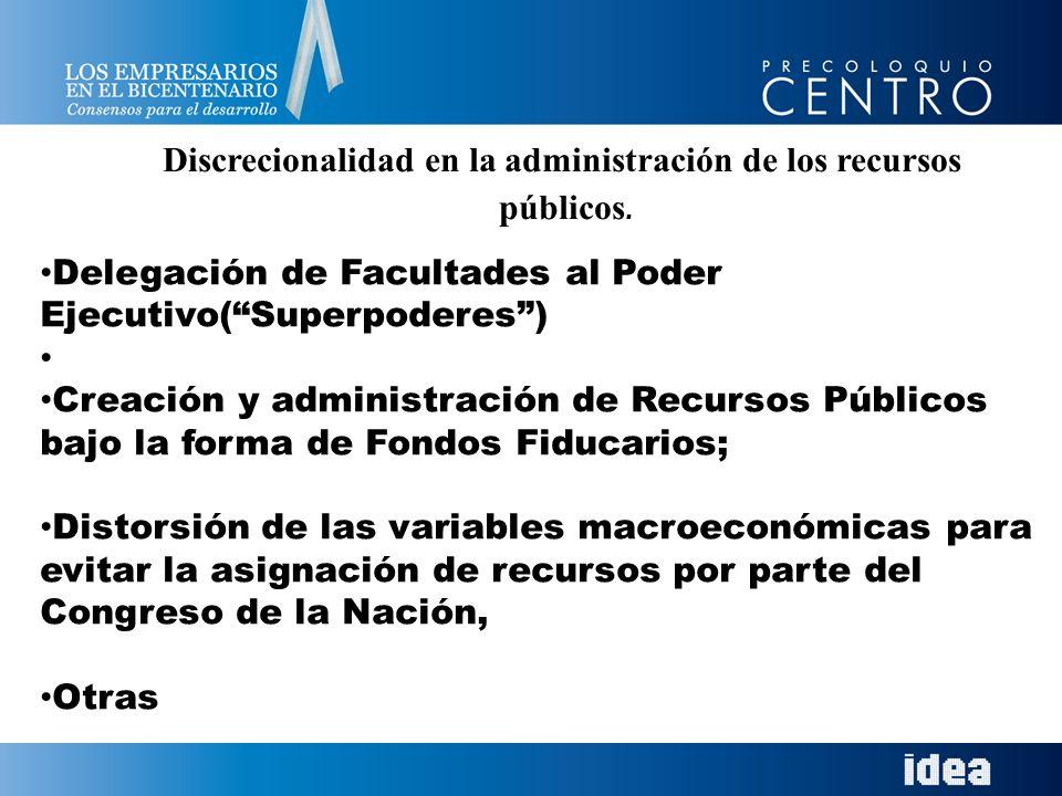 Discrecionalidad en la administración de los recursos públicos. Delegación de Facultades al Poder Ejecutivo(Superpoderes) Creación y administración de