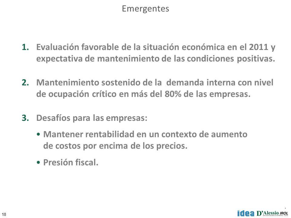 18 Emergentes 1.Evaluación favorable de la situación económica en el 2011 y expectativa de mantenimiento de las condiciones positivas. 2.Mantenimiento