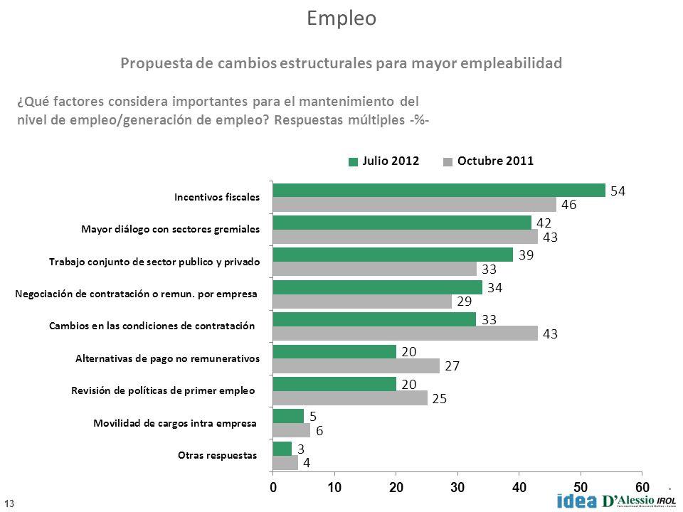 13 ¿Qué factores considera importantes para el mantenimiento del nivel de empleo/generación de empleo.