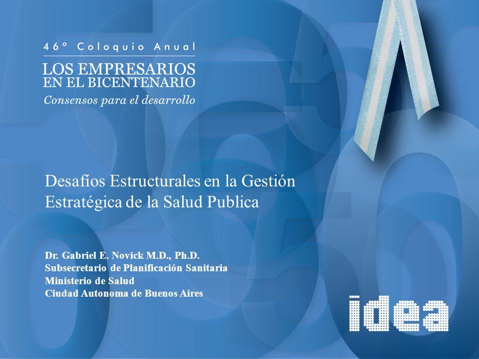 Desafíos Estructurales en la Gestión Estratégica de la Salud Publica Dr. Gabriel E. Novick M.D., Ph.D. Subsecretario de Planificación Sanitaria Minist