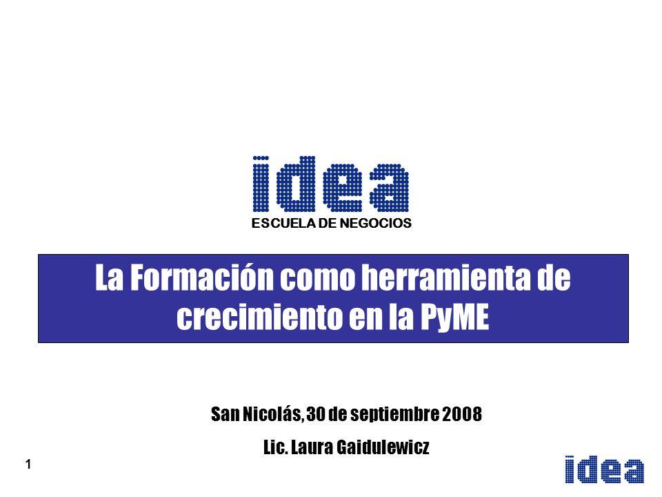 1 La Formación como herramienta de crecimiento en la PyME San Nicolás, 30 de septiembre 2008 Lic.