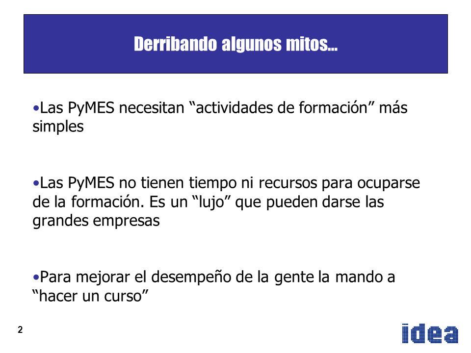 2 Derribando algunos mitos… Las PyMES necesitan actividades de formación más simples Las PyMES no tienen tiempo ni recursos para ocuparse de la formación.