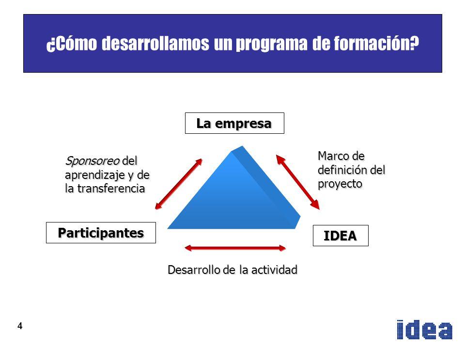 4 La empresa Participantes Marco de definición del proyecto Sponsoreo del aprendizaje y de la transferencia Desarrollo de la actividad IDEA ¿Cómo desarrollamos un programa de formación