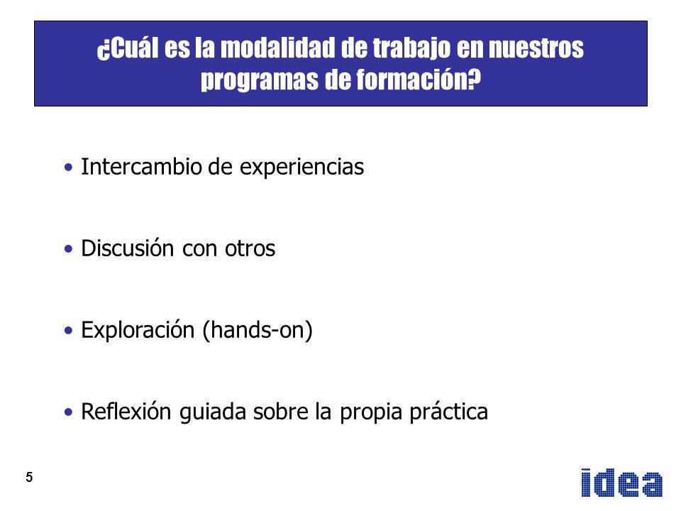5 Intercambio de experiencias Discusión con otros Exploración (hands-on) Reflexión guiada sobre la propia práctica ¿Cuál es la modalidad de trabajo en nuestros programas de formación