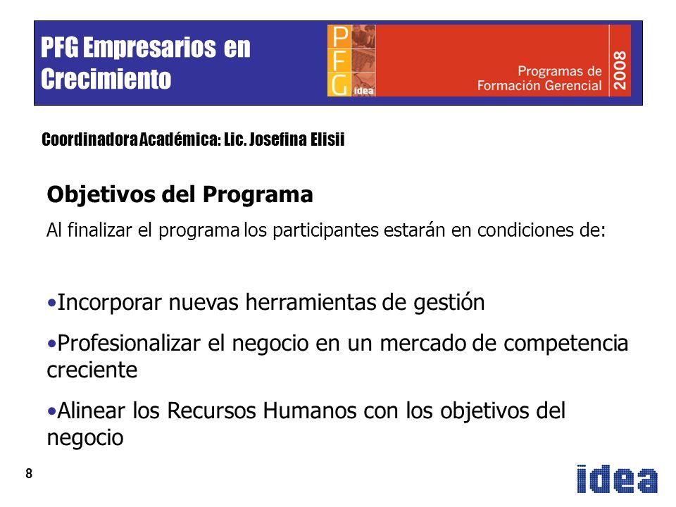 8 PFG Empresarios en Crecimiento Coordinadora Académica: Lic.