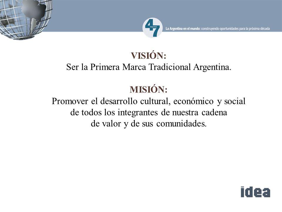 VISIÓN: Ser la Primera Marca Tradicional Argentina.