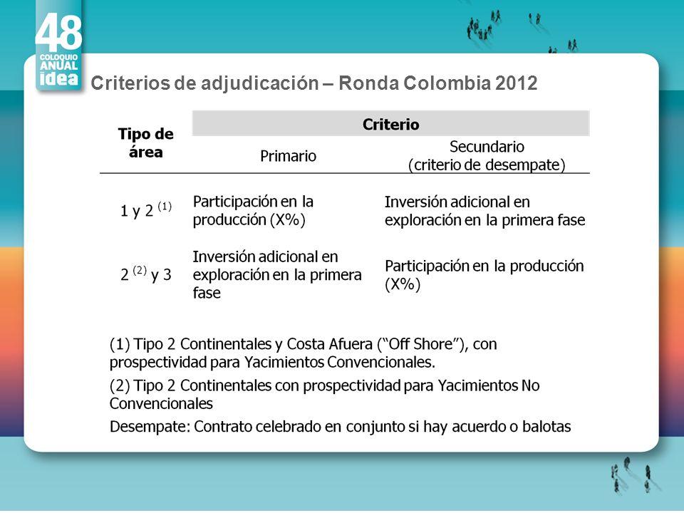 Criterios de adjudicación – Ronda Colombia 2012