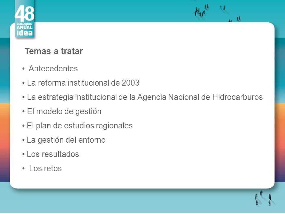 Temas a tratar Antecedentes La reforma institucional de 2003 La estrategia institucional de la Agencia Nacional de Hidrocarburos El modelo de gestión
