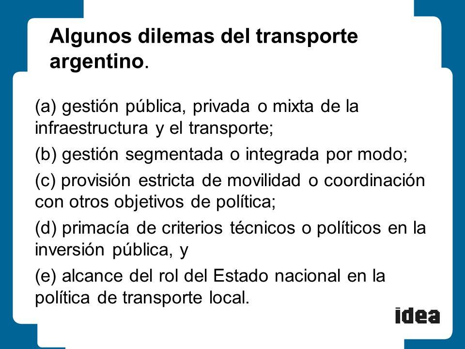 Algunos dilemas del transporte argentino. (a) gestión pública, privada o mixta de la infraestructura y el transporte; (b) gestión segmentada o integra
