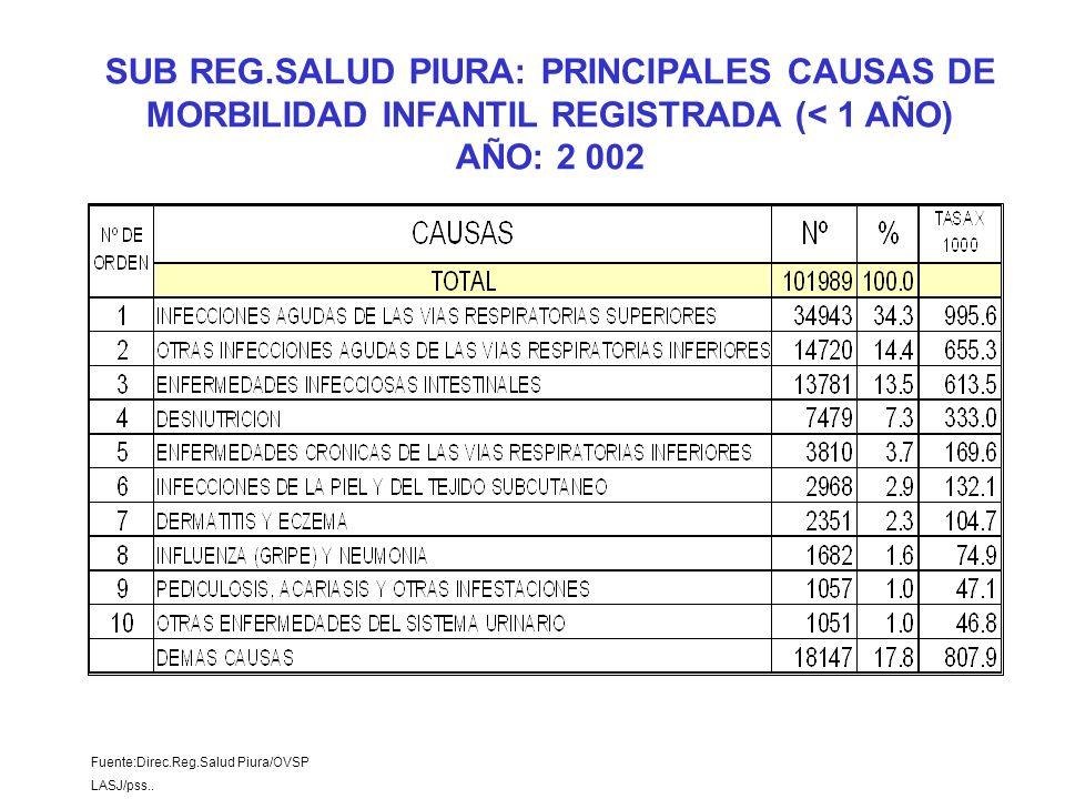 Fuente:Direc.Reg.Salud Piura/OVSP LASJ/pss.. SUB REG.SALUD PIURA: PRINCIPALES CAUSAS DE MORBILIDAD INFANTIL REGISTRADA (< 1 AÑO) AÑO: 2 002
