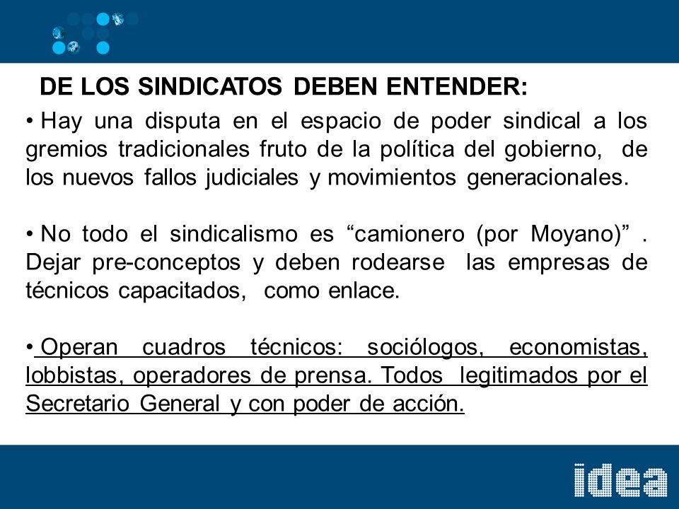 DE LOS SINDICATOS DEBEN ENTENDER: Hay una disputa en el espacio de poder sindical a los gremios tradicionales fruto de la política del gobierno, de los nuevos fallos judiciales y movimientos generacionales.