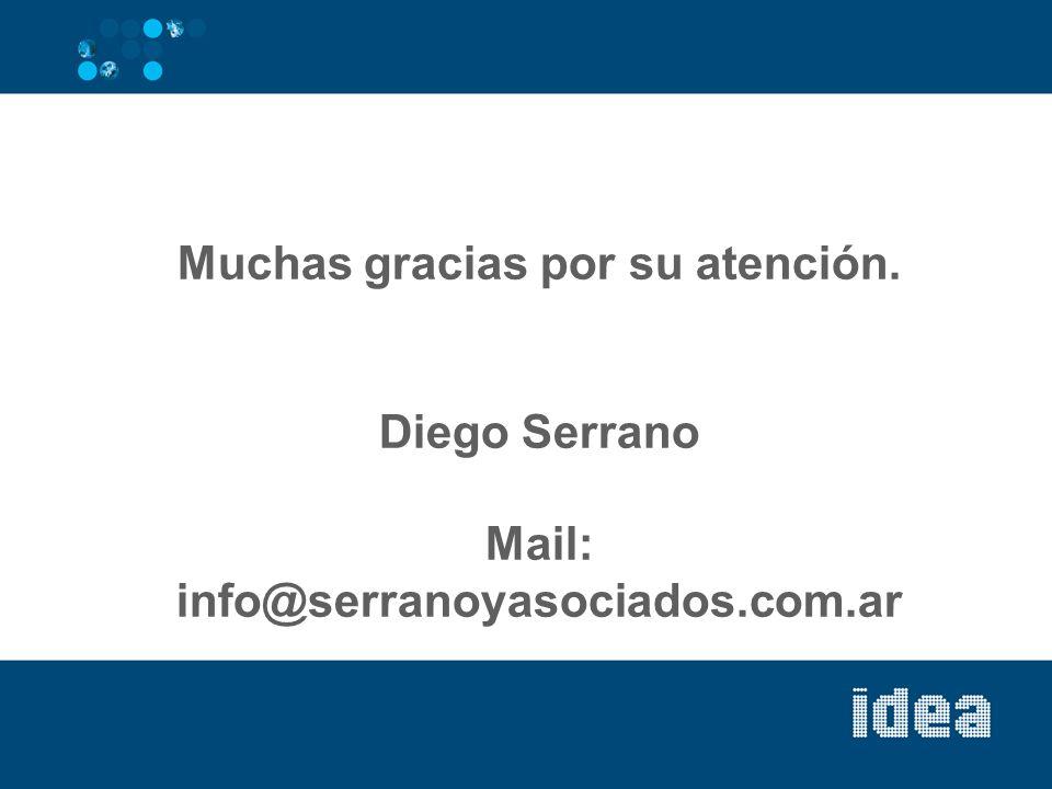 Muchas gracias por su atención. Diego Serrano Mail: info@serranoyasociados.com.ar