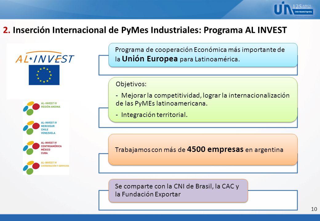 10 Programa de cooperación Económica más importante de la Unión Europea para Latinoamérica. Objetivos: - Mejorar la competitividad, lograr la internac