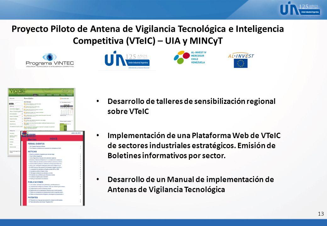 13 Proyecto Piloto de Antena de Vigilancia Tecnológica e Inteligencia Competitiva (VTeIC) – UIA y MINCyT Desarrollo de talleres de sensibilización reg