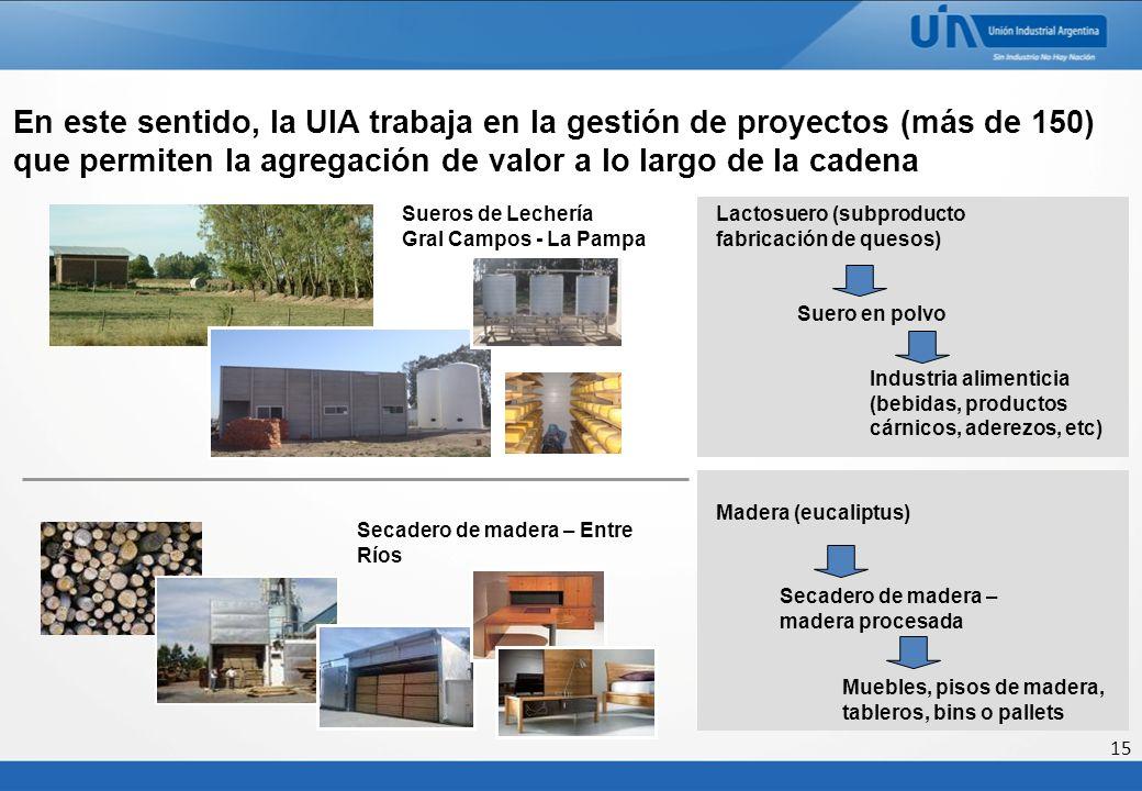 15 Sueros de Lechería Gral Campos - La Pampa Secadero de madera – Entre Ríos En este sentido, la UIA trabaja en la gestión de proyectos (más de 150) q