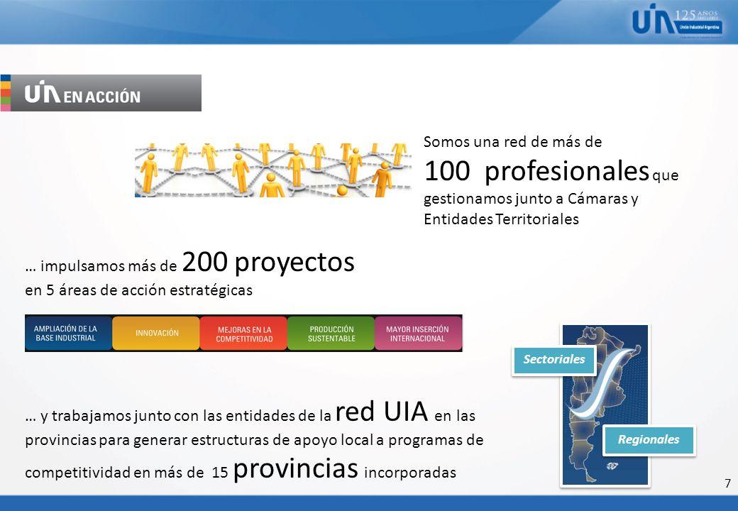 7 … impulsamos más de 200 proyectos en 5 áreas de acción estratégicas … y trabajamos junto con las entidades de la red UIA en las provincias para gene