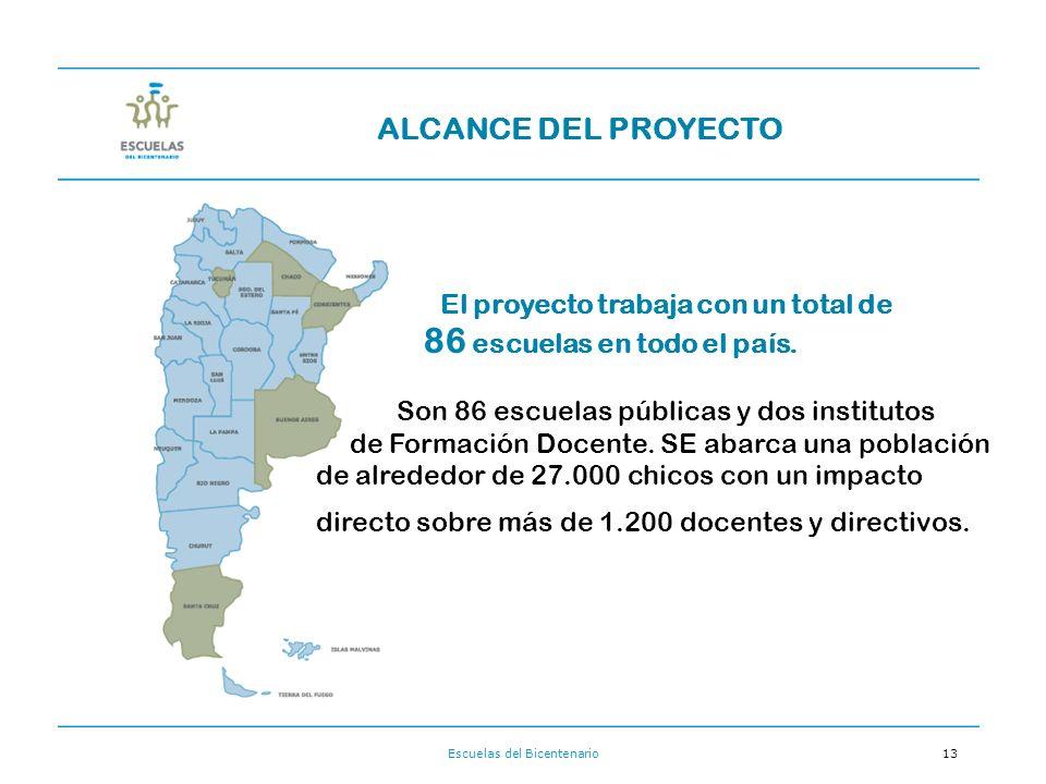 Escuelas del Bicentenario13 El proyecto trabaja con un total de 86 escuelas en todo el país.