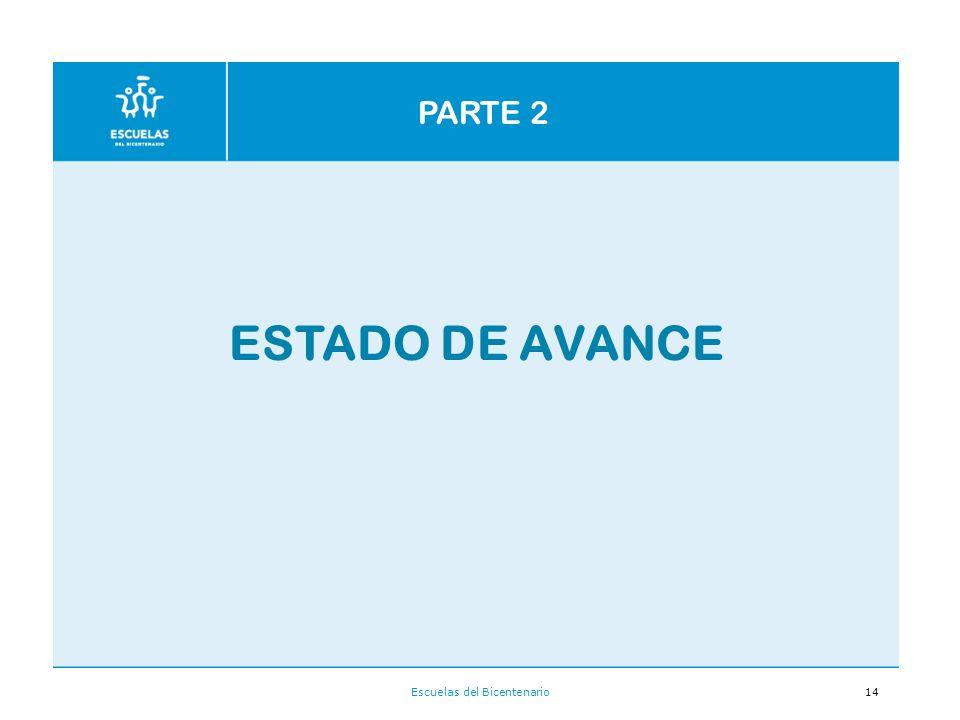 Escuelas del Bicentenario14 ESTADO DE AVANCE PARTE 2