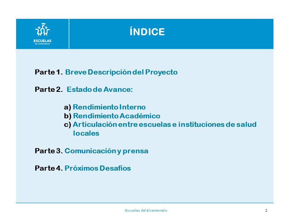 Escuelas del Bicentenario2 ÍNDICE Parte 1.Breve Descripción del Proyecto Parte 2.