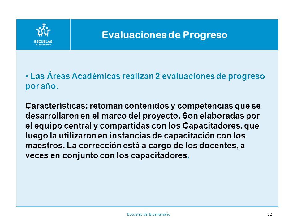 Escuelas del Bicentenario32 Las Áreas Académicas realizan 2 evaluaciones de progreso por año.