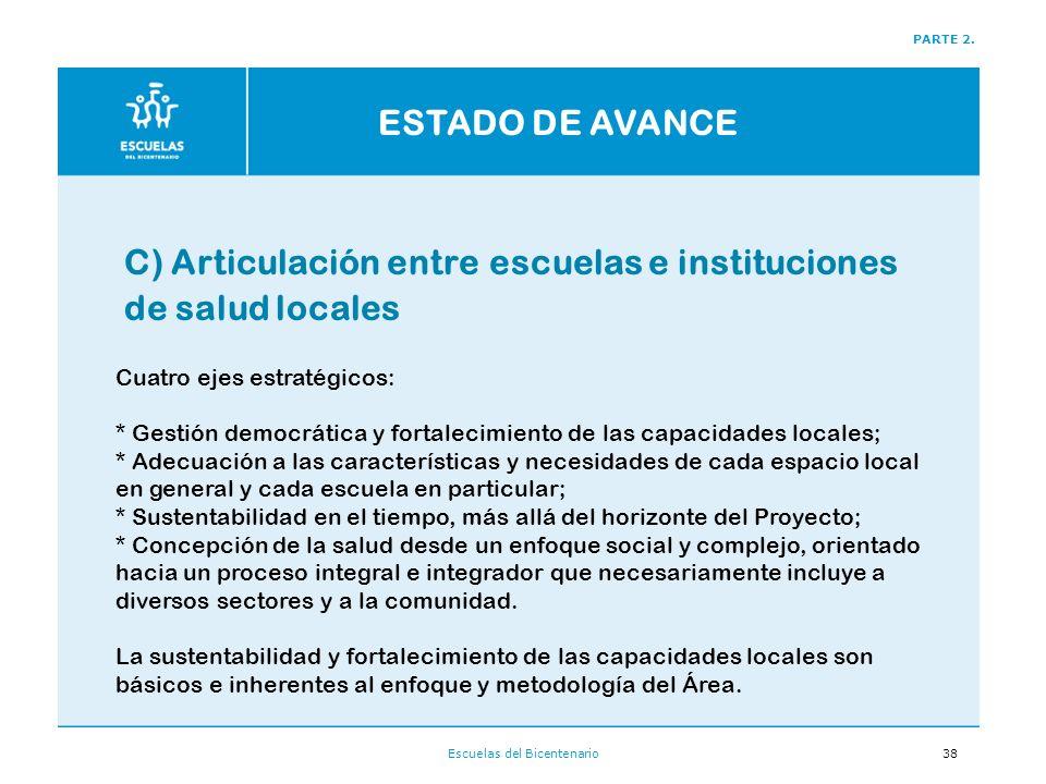 Escuelas del Bicentenario38 C) Articulación entre escuelas e instituciones de salud locales PARTE 2.