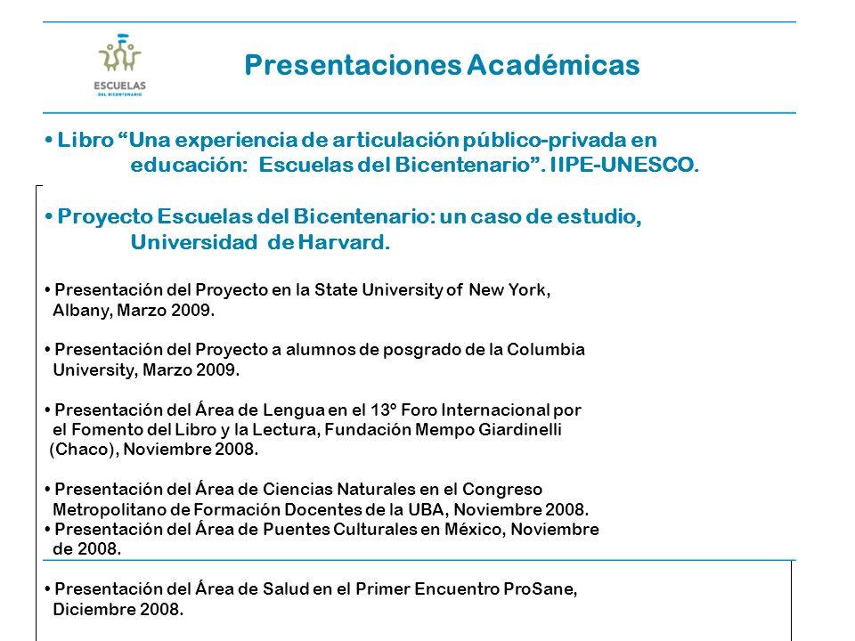 Escuelas del Bicentenario51 Presentaciones Académicas Libro Una experiencia de articulación público-privada en educación: Escuelas del Bicentenario.