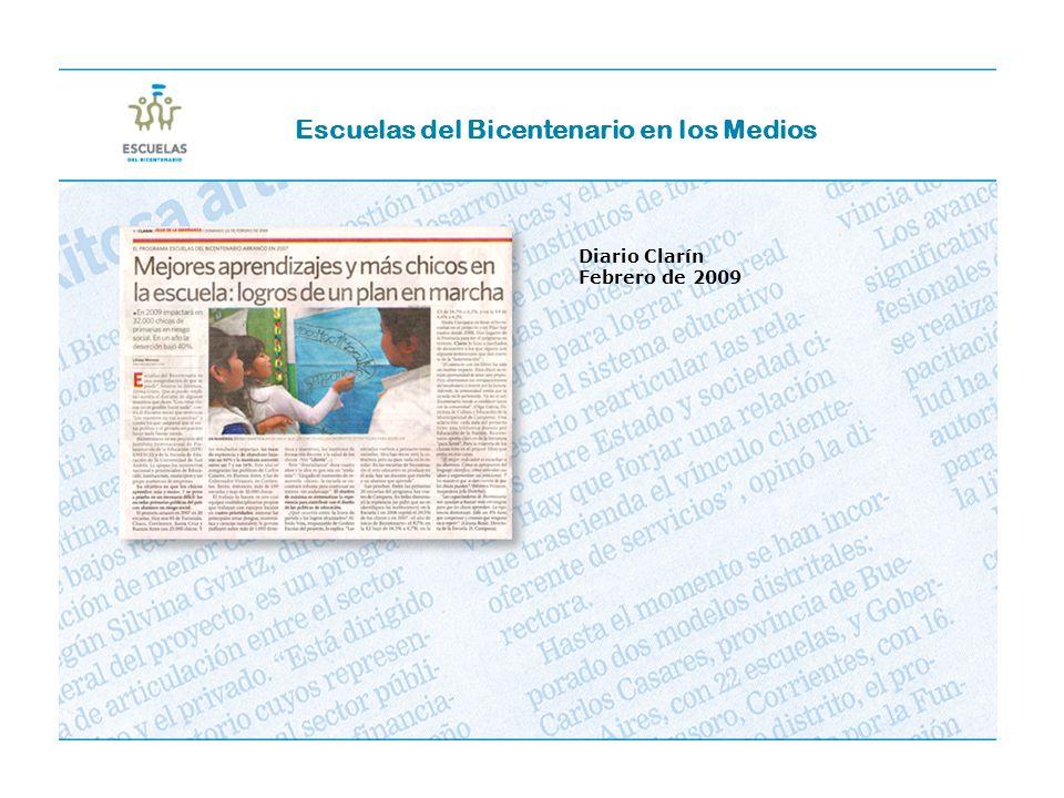 Escuelas del Bicentenario en los Medios Diario Clarín Febrero de 2009