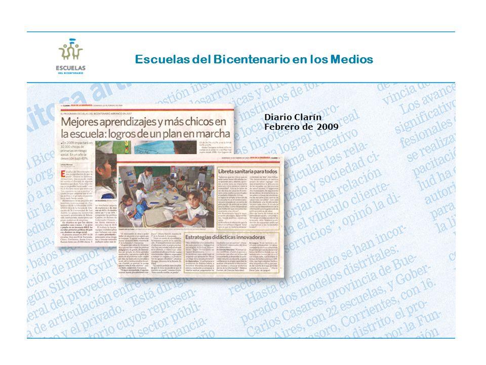 Diario Clarín Febrero de 2009 Escuelas del Bicentenario en los Medios