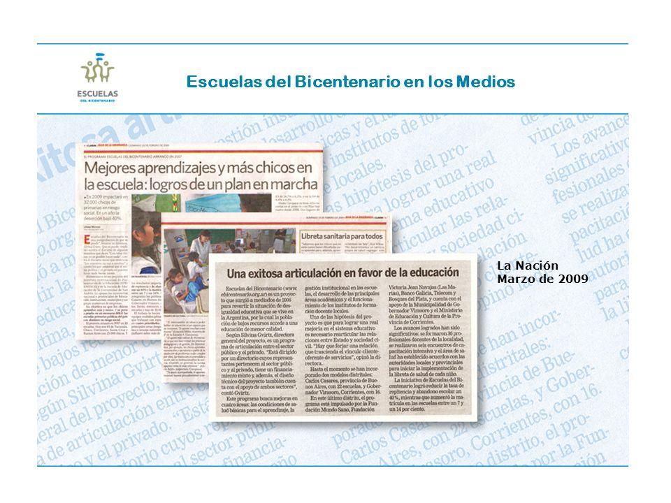 La Nación Marzo de 2009 Escuelas del Bicentenario en los Medios