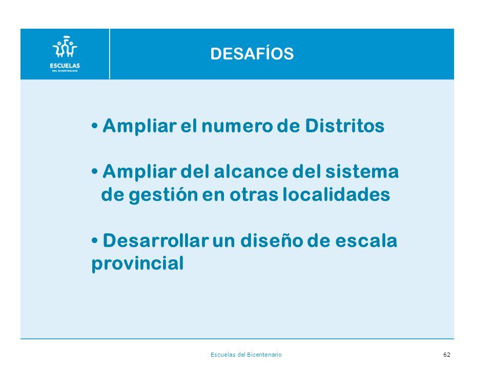 Escuelas del Bicentenario62 Ampliar el numero de Distritos Ampliar del alcance del sistema de gestión en otras localidades Desarrollar un diseño de escala provincial DESAFÍOS
