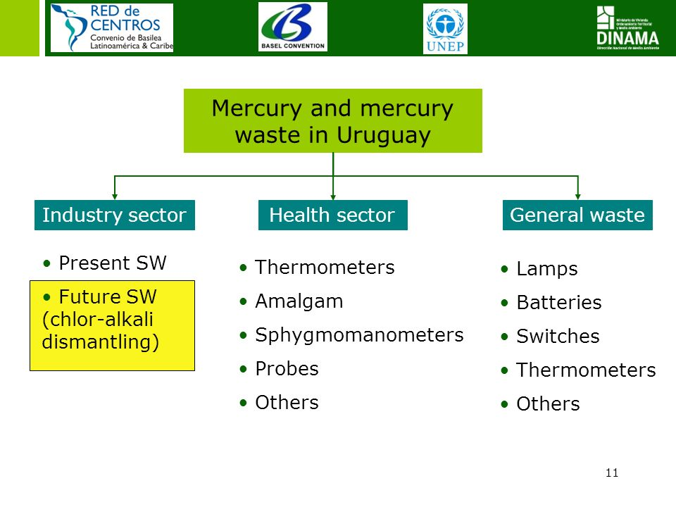 11 Mercury and mercury waste in Uruguay Industry sectorGeneral waste Present SW Future SW (chlor-alkali dismantling) Lamps Batteries Switches Thermome