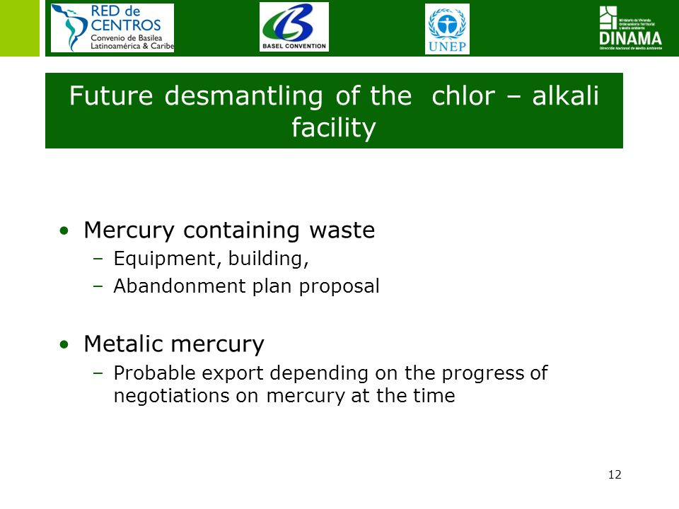 12 Future desmantling of the chlor – alkali facility Mercury containing waste –Equipment, building, –Abandonment plan proposal Metalic mercury –Probab
