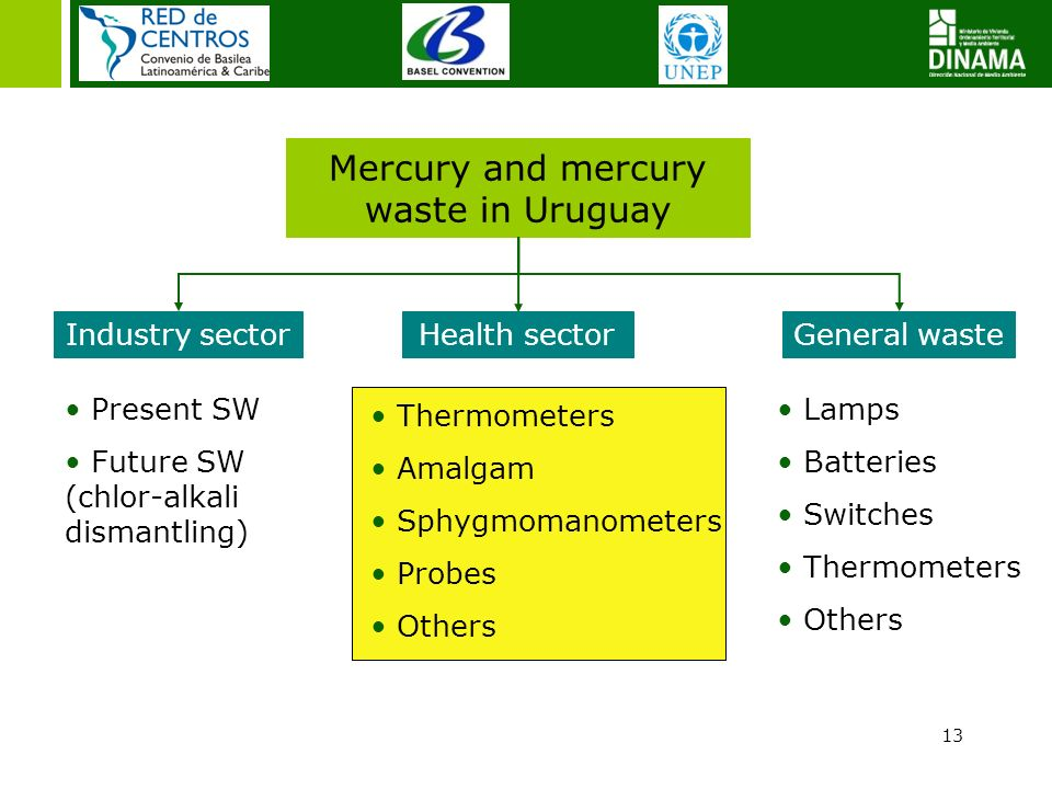 13 Mercury and mercury waste in Uruguay Industry sectorGeneral waste Present SW Future SW (chlor-alkali dismantling) Lamps Batteries Switches Thermome