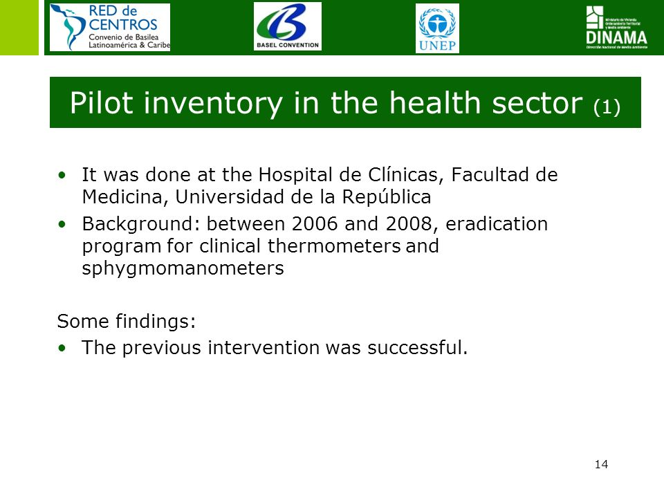 Pilot inventory in the health sector (1) It was done at the Hospital de Clínicas, Facultad de Medicina, Universidad de la República Background: betwee