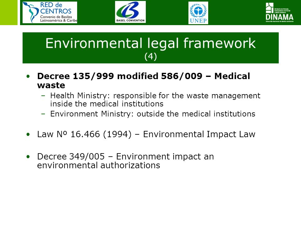 Decree 135/999 modified 586/009 – Medical waste –Health Ministry: responsible for the waste management inside the medical institutions –Environment Mi
