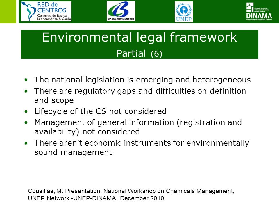 The national legislation is emerging and heterogeneous There are regulatory gaps and difficulties on definition and scope Lifecycle of the CS not cons
