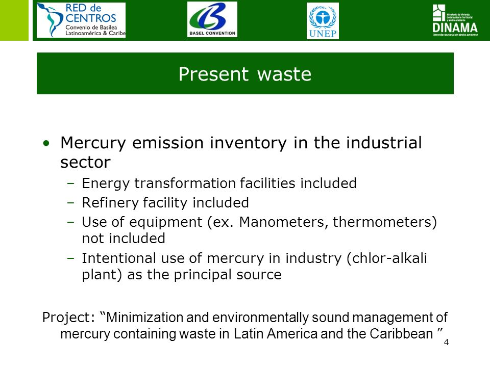 Present waste Mercury emission inventory in the industrial sector –Energy transformation facilities included –Refinery facility included –Use of equip