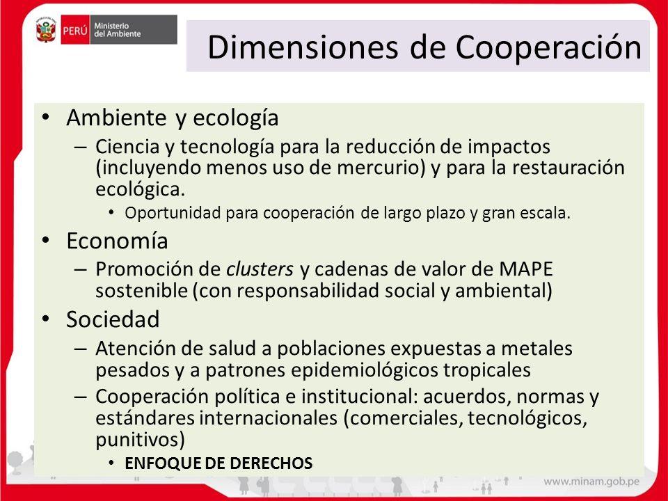 Dimensiones de Cooperación Ambiente y ecología – Ciencia y tecnología para la reducción de impactos (incluyendo menos uso de mercurio) y para la resta