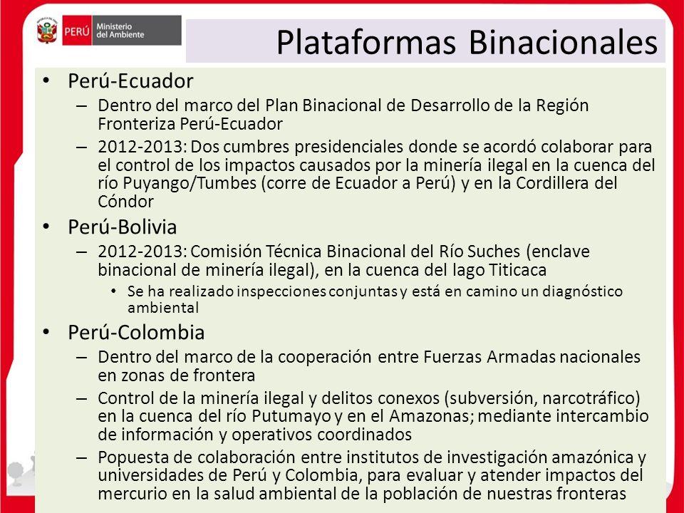 Plataformas Binacionales Perú-Ecuador – Dentro del marco del Plan Binacional de Desarrollo de la Región Fronteriza Perú-Ecuador – 2012-2013: Dos cumbr