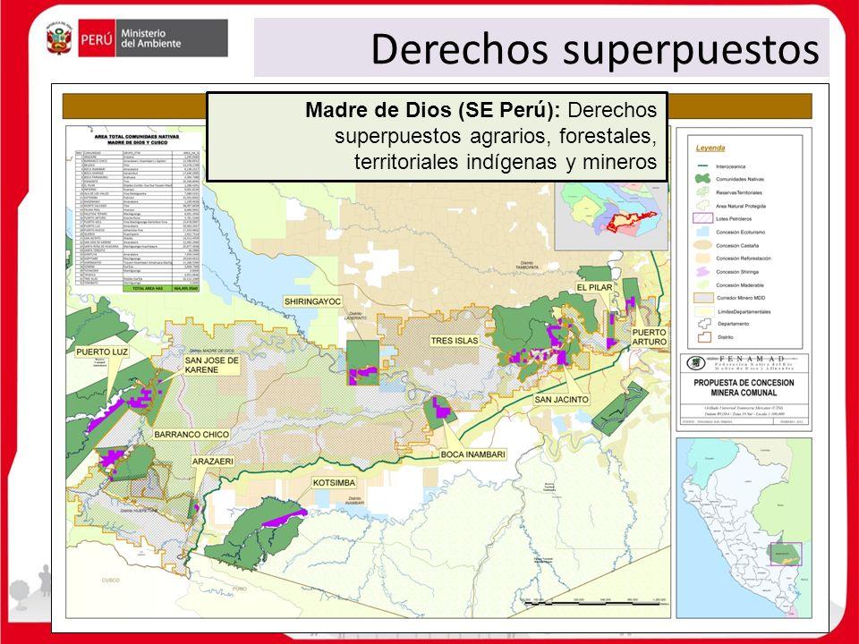 Derechos superpuestos Madre de Dios (SE Perú): Derechos superpuestos agrarios, forestales, territoriales indígenas y mineros